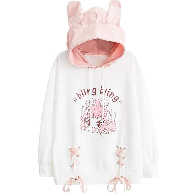 YUFAA Mujeres japonesas Lindo Anime Imprimir Manga Larga Suelta suéteres niñas Sudadera Cordón: Amazon.es: Ropa y accesorios