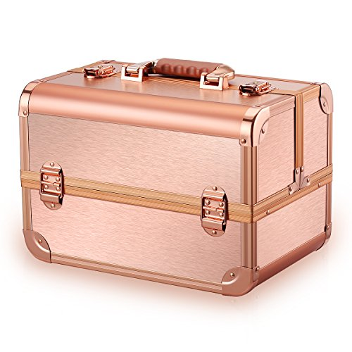 - Ovonni Professional Portable Makeup Train Case, Artisit Lockable Aluminum Cosmetic Organizer Storage Box with Adjustable Dividers 4 Trays,Rose Gold