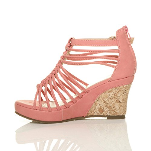 Coral Ajvani Women Sandals High Strappy Size Heel yBKfPRq
