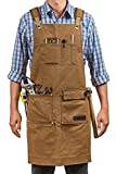 Luxury Waxed Canvas Shop Apron   Heavy Duty Work Apron for Men & Women with Pocket & Cross-Back Straps   Adjustable Tool Apron Up To XXL   Long, Thick, Water Resistant Workshop Apron in Gift Box
