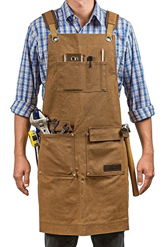 Luxury Waxed Canvas Shop Apron | Heavy Duty Work Apron for Men & Women with Pocket & Cross-Back Straps | Adjustable Tool Apron Up To XXL | Long, Thick, Water Resistant Workshop Apron in Gift Box by GIDABRAND
