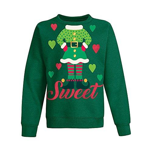 Hanes Big Girls' Ugly Christmas Sweatshirt, Emerald Night/Girl Elf, Large