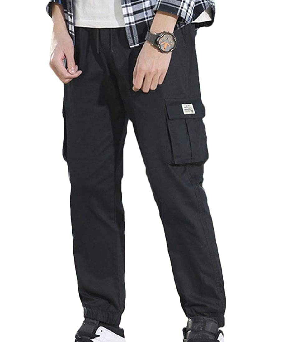 Winwinus Men Slim-Tapered Casual Baggy Solid Colored Multi-Pockets Cargo Pant