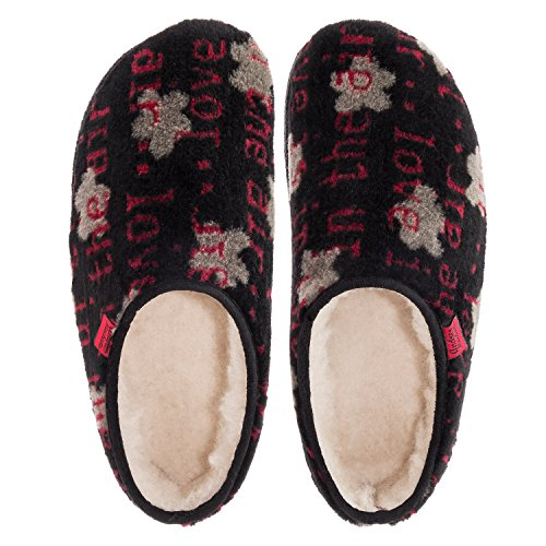Andres Machado AM001PRINT.Zebra Print Plush Fur Slippers.Petite, Medium and Large Sizes.Made in Spain.Size Range: UK 0.5 to 10.5/EU 32 to 45. Black Letter Print