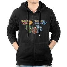 Men's Pokemon Sun Pokemon Moon IGN Kotaku Full Zipper Hooded Sweatshirt