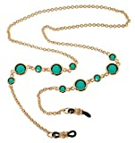 L. Erickson Daphanie Eyeglass Chain - Emerald/Gold
