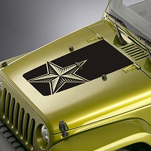 (Jeepazoid - Jeep Hood Decal for Wrangler TJ YJ JK - Nautical Star Blackout Sticker - Red)