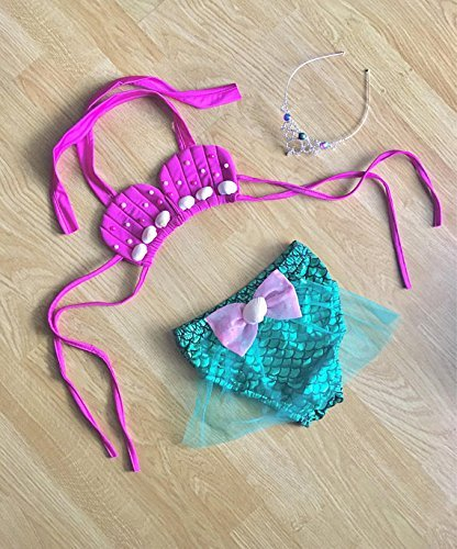 a5be355ec2cb Amazon.com  Baby Swimsuit Toddler Girls Swimwear Kids Little Mermaid  Bathing Suit First Birthday Outfit  Handmade