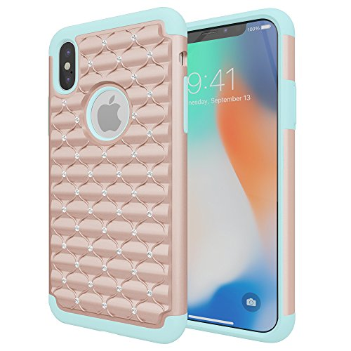 iPhone Xs Case, iPhone X Case, Cimo [Shockproof] Heavy Duty Shock Absorbing Protection Cover for Apple iPhone Xs, iPhone X - Rose Gold