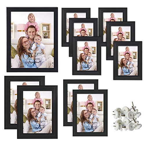 Giftgarden Multi Picture Frame for Multiple Sizes 11pcs, One 8x10, Two 5x7, Two 4x6, Six 3.5x5, Glass Lens