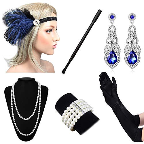 Lukovee 1920s Flapper Accessories Set Costume Headband Necklace Gloves Cigarette Holder Women -