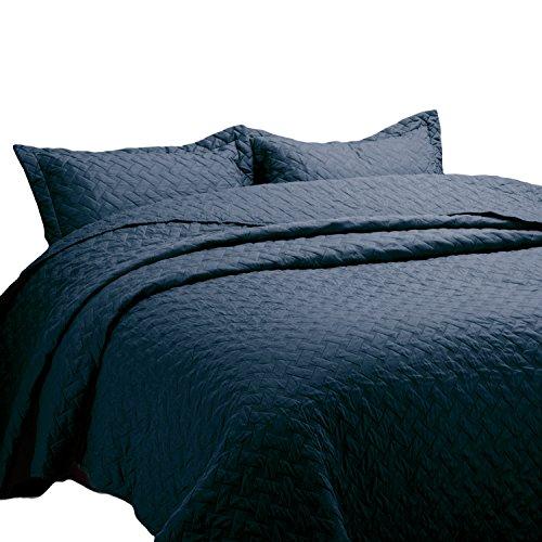 Bedsure Quilt Set Solid Grey Full/Queen(86″x96″) Basketweave Pattern Lightweight Hypoallergenic Microfiber Simone by