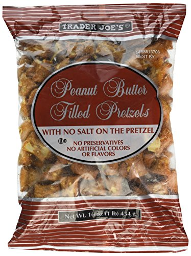 - 2--Trader Joe's Peanut Butter Filled Pretzels with No Salt on the Pretzel