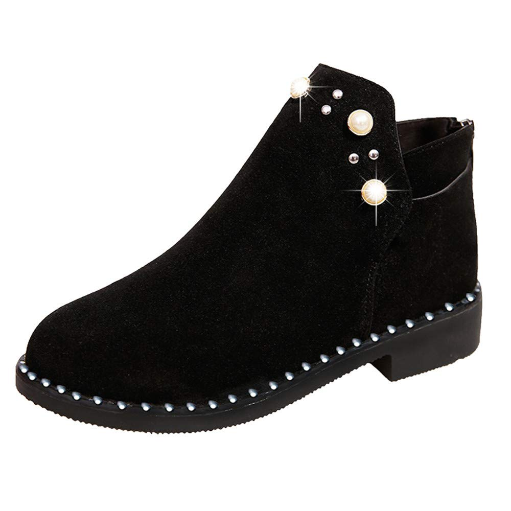 Sunmoot Suede Ankle Boots Women Vintage Pearl Zipper Flat Round Toe Shoes