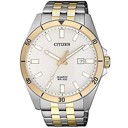Citizen Stainless Steel Two-Toned Case, Two-Toned Band and White Dial with Date Display, Men's Watch, ()
