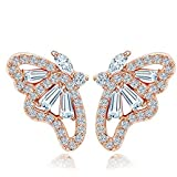 Yellow Chimes Butterfly Top Quality Collection Gold Plated and Cubic Zirconia Studs Earrings for Women (Rose Gold)(YCFJER-072BTR-RG)