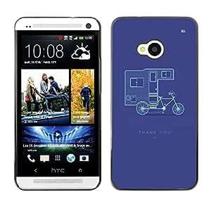 FECELL CITY // Duro Aluminio Pegatina PC Caso decorativo Funda Carcasa de Protección para HTC One M7 // Double Decker Bicycle Purple