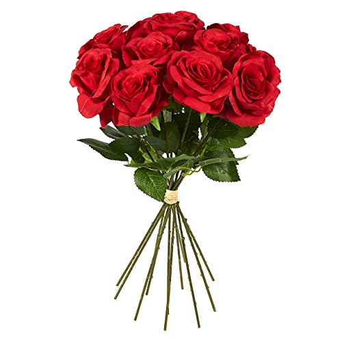 Juvale 12 Count Fake Flowers – Silk Red Roses Artificial Flower Bouquet, Fake Roses for Wedding Parties, Valentine's Day, Table, and Home Decorations, 17.3 x 3 x 3 Inches ()
