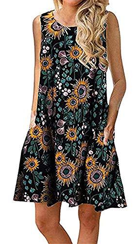 (Boho Tshirt Dresses for Women Beach Casual Sleeveless Floral Shift Pockets Swing Loose Damask(L,Green))