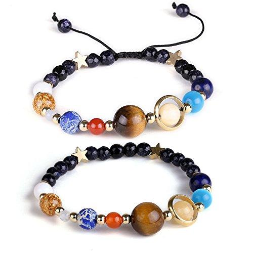 ural Stone Beads Bracelet Bangle Solar System Bracelet Universe Galaxy The Eight Planets Guardian Star Yoga Bracelets for Womens Mens (2 Pcs Set) ()
