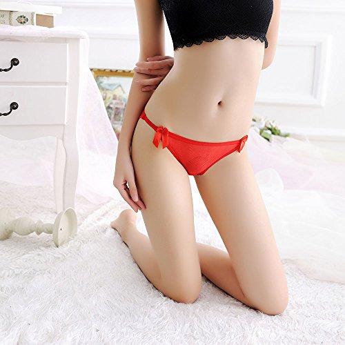 Meiye Encaje ultra-delgado de seda de hielo con Bowknot tanga Lady baja cintura tentación T-Back Bragas Rojo