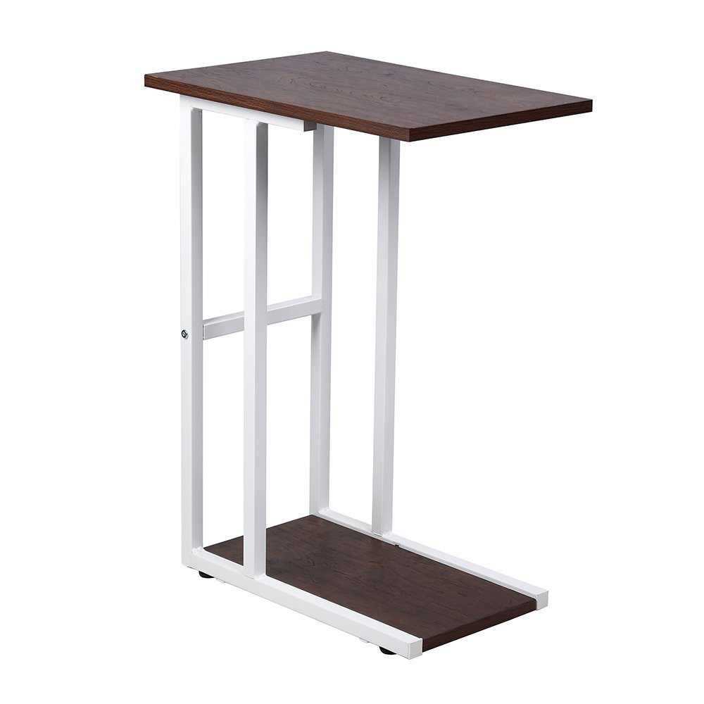 GIA B06XXFH7Q7 C Shape Side End Table, Walnut/White