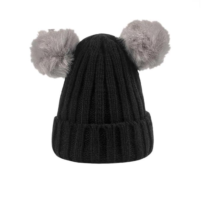 cc101ea5436 BIBITIME Double Pompom Ears Beanie Knit Hat for Baby 0-3 Years Winter Warm  Cap