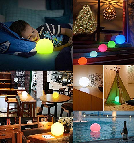 Alwoa LED Ball Lights, Floating Pool Lights, 16 Color Changing, IP68 Waterproof, Rechargeable Moon Lamp Perfect for Home, Garden, Party (8inch-Sphere, 1 Pack)