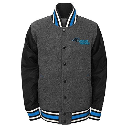 NFL Carolina Panthers Youth Boys Letterman Varsity Jacket Charcoal Grey, Youth -