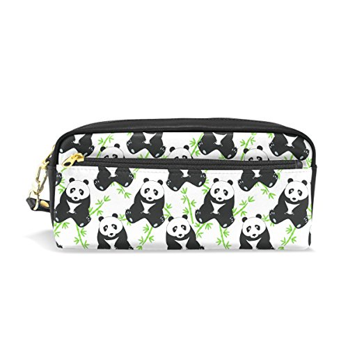 Pencil Case Pouch Storage Black and White Panda Bear Stationery Cosmetic Makeup Wristlets Bag -