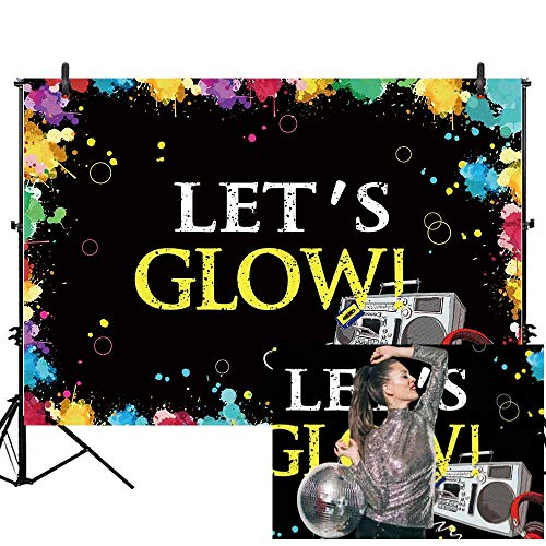 Allenjoy 7x5ft Glow Neon Party Backdrop Let's Glow Splatter Photography Background Graffiti Spray Paint Disco Retro Dance in The Dark Night Photo Banner Decorations Photobooth ()