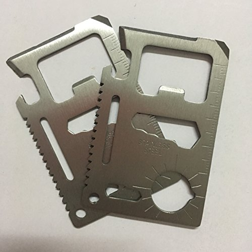 Pack of 10 Credit Card Tool 11 in 1 Credit Card Multitool Knife Saw.Wallet Survival Tool With Knife Saw Blade. The Perfect Stocking Stuffer!