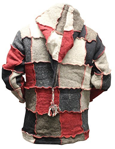 Patchwork Wool - Mens Pixie Red Wool Patchwork Hippy Jacket [M]