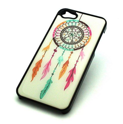 BLACK Snap On Case IPHONE 5 5S Plastic Cover - RAINBOW DREAMCATCHER feather drea...