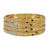 Banithani 18K Goldplated Traditional Indian Bollywood Bangle Set Bracelets Jewelry 28