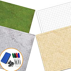 RPG Battle Game Mat - 2 Pack Dry Erase Double sided 36 x 24 (4 Terrains) + 7pc Polyhedral Dice Set - Large Table Top Role Playing Map for Starters and Masters