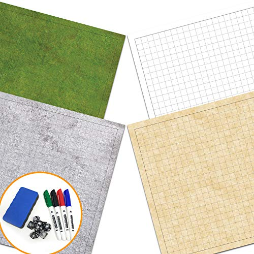 Double Map Sided - RPG Battle Game Mat - 2 Pack Dry Erase Double sided 36