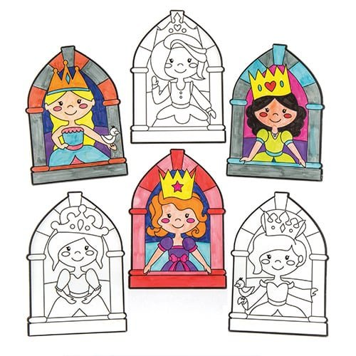 Princess Colour-in Window Decorations to Make & Decorate - Creative Kids Arts & Crafts (Pack of 12) (Princess Vellum)
