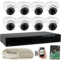 GW Security 16 Channel 5MP PoE NVR with 8 x Dome 5MP HD 1920p 2.8~12mm Varifocal lens Indoor Security IP Camera and (Pre-installed 2TB HDD, 4x HDD bay, up to 24TB total)