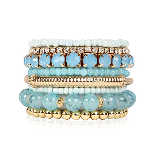 RIAH FASHION Multi Color Stretch Beaded Stackable Bracelets - Layering Bead Strand Statement Bangles (Original - Light Blue, 7)]()