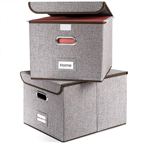 Prandom File Boxes | Collapsible Decorative Linen Filing Storage Organizer Hanging File Folders with Lids Office | Letter\Legal Size | Important Document | Gray [2-Pack]