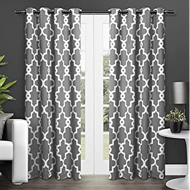 Exclusive Home Ironwork Blackout Thermal Grommet Top Window Curtain Panels - 52  x 84 , Black Pearl, Sold As Set of 2 / Pair