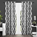 thermal curtains 84 pattern - Exclusive Home Curtains Ironwork Sateen Woven Blackout Thermal Grommet Top Window Curtain Panel Pair, Black Pearl, 52x84
