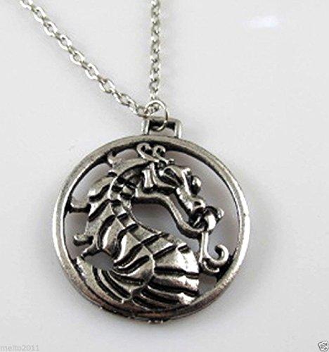Fashion Mortal Kombat Vintage Charms Silver Dragon Amulet Chain Necklace Gift