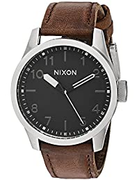 Nixon Men's 'Safari' Quartz Stainless Steel and Leather Casual Watch, Color:Brown (Model: A9752455-00)
