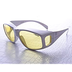 NoScope Golem Yellow Lens Video Game Gaming TV Computer Glasses | Anti Blue Rays Protection & Glare Free | Fit Over Glasses | Reduce Eye Strain and Fatigue | PS4 Xbox One - Polycarbonate Frame, White