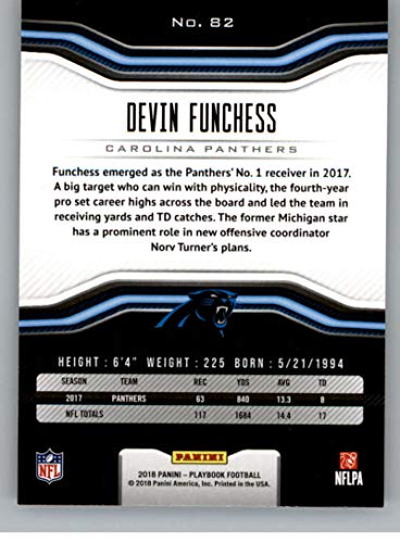 Amazon.com  2018 Playbook Football  82 Devin Funchess Carolina Panthers  Official NFL Card Produced by Panini  Collectibles   Fine Art 107f584bc