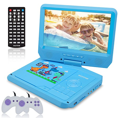 WONNIE 9.5 Inch Kids Portable DVD Player for Car with Games Function, USB/SD Slot (Blue) by WONNIE