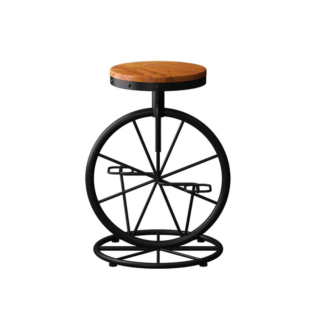 Black GY Iron Art Lift Bar Stool, Retro Creative Bar Chair, Solid Wood Chair, Suitable for Indoor High Stool, Home Kitchen Counter Height, Black, 60-70cm (color   Black)