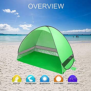 KeShi Pop up Beach Tent, Portable Beach Tent Sun Shelter, Waterproof Windproof Beach Canopy, Large Space Anti UV Beach Shade – Fit 3-4 Persons for Camping, Hiking, Canopy with Carry Bag